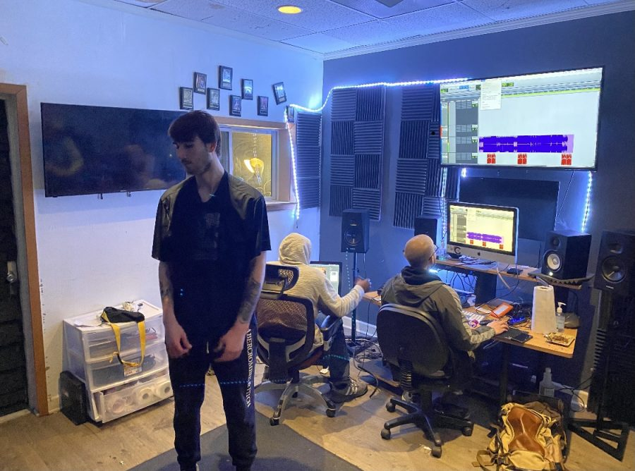 Preskar+and+his+team+working+on+his+first+studio+record+