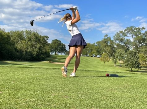 Senior Jacqueline Kuczkowski drove the ball deep down the fairway with her first swing at the second hole.