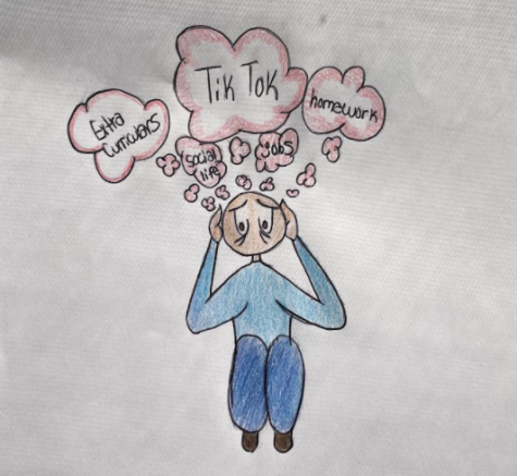 This cartoon depicts the everyday stressors in the average high schoolers life.