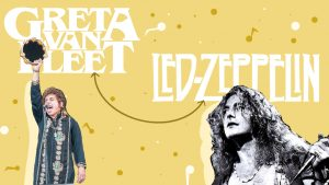Rock band Greta Van Fleet is not only rising to fame due to their uniqueness, but also their well discussed comparison to Led Zeppelin. Photos courtesy of Wikimedia Common and Flickr.
